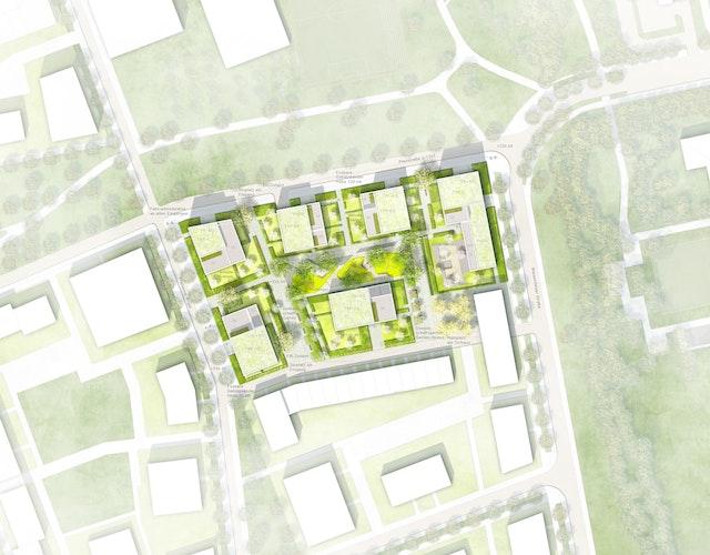 Neubau einer Wohnanlage mit Kindertagesstätte Freiham WA12 in München