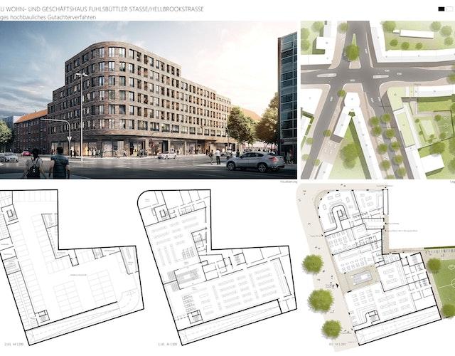 Neubau Wohn- und Geschäftshaus Fuhlsbüttler Str. / Hellbrookstraße
