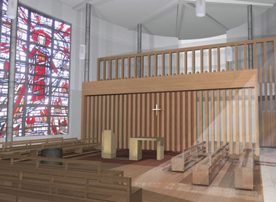 umgestaltung kirchenraum mit integration von pfarrhe. Black Bedroom Furniture Sets. Home Design Ideas