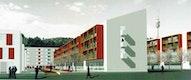 angehobene Freiflächen zwischen den Gebäuden